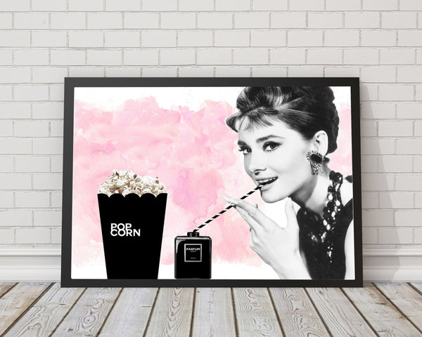 Audrey Hepburn Popcorn - Fashion Photography Poster - Rock Salt Prints Ltd