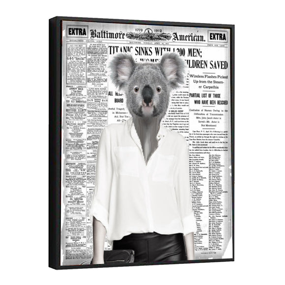 Koala Girl Newspaper Canvas Wall Art