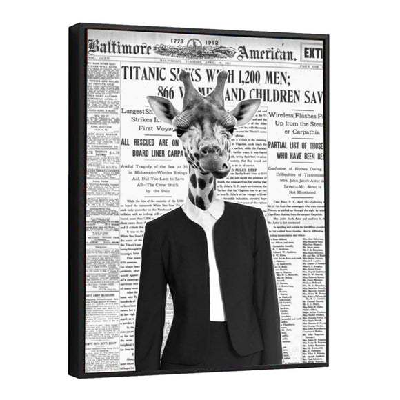 Giraffe Lady Newspaper Canvas Wall Art