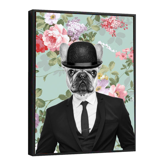 Bulldog Dude Floral Background Canvas Wall Art