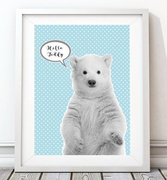 Baby Polar Bear 003 Nursery Art Print - Rock Salt Prints Ltd