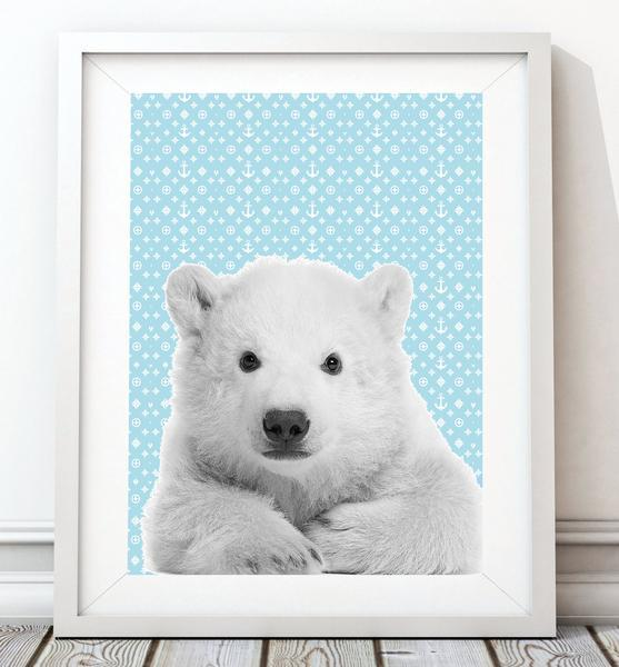 Baby Polar Bear 001 Nursery Art Print - Rock Salt Prints Ltd