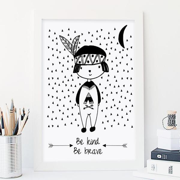 Be Kind, Be Brave - Boy Monochrome Nursery Art Print - Rock Salt Prints Ltd