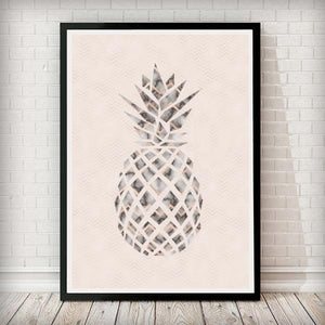 Pineapple Blush Pink Abstract Home Decor Art Print - Rock Salt Prints Ltd