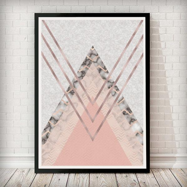 Triangles Abstract - Blush Pink and Marble Abstract Home Decor Art Print - Rock Salt Prints Ltd