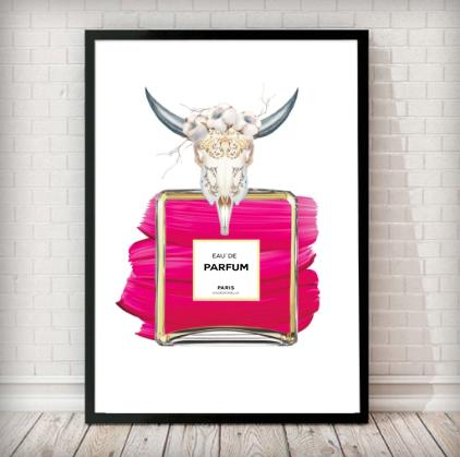 Animal Skull Pink Perfume Bottle Fashion Art Print in white - Rock Salt Prints Ltd