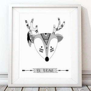 Be Brave Deer Black & White Nursery Art Print - Rock Salt Prints Ltd