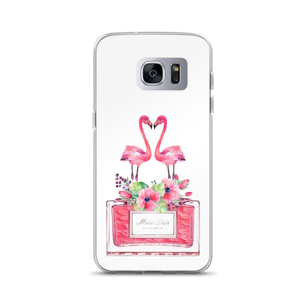 Flamingos Miss Dior White Samsung Case - Rock Salt Prints Ltd