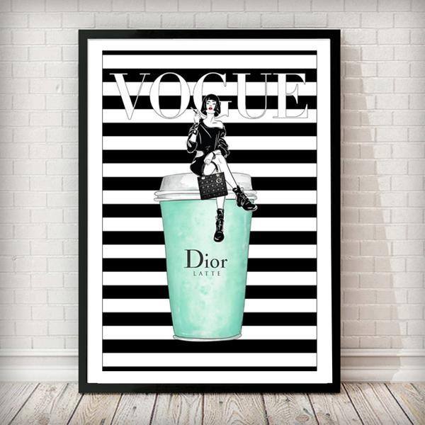 Dior Latte - Vogue Fashion Art Print - Rock Salt Prints Ltd