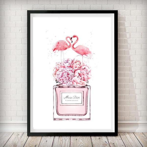Flamingo Miss Dior Perfume Bottle Fashion Art Print - Rock Salt Prints Ltd