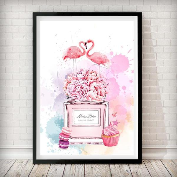 Flamingo / Macaroon Perfume Bottle Fashion Art Print - Rock Salt Prints Ltd