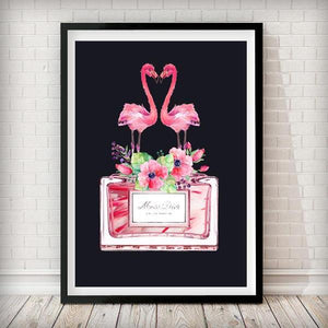 Flamingo Perfume Bottle Art Print - in black - Rock Salt Prints Ltd