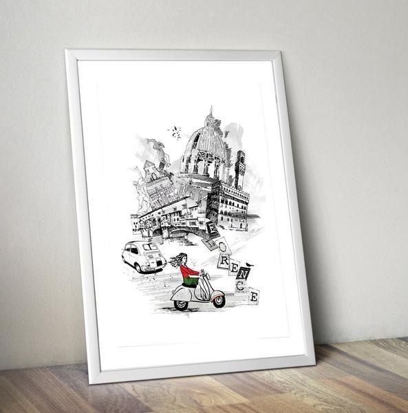 Florence Retro City Art Print - Rock Salt Prints Ltd