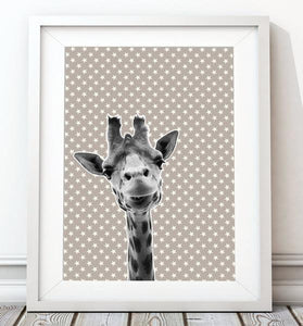 Giraffe Grey Star 001 Animal Art Print - Rock Salt Prints