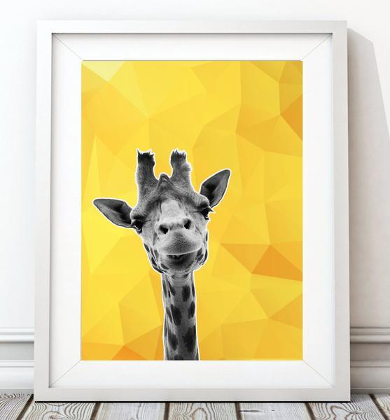 Giraffe Yellow Abstract Animal Art Print - Rock Salt Prints Ltd