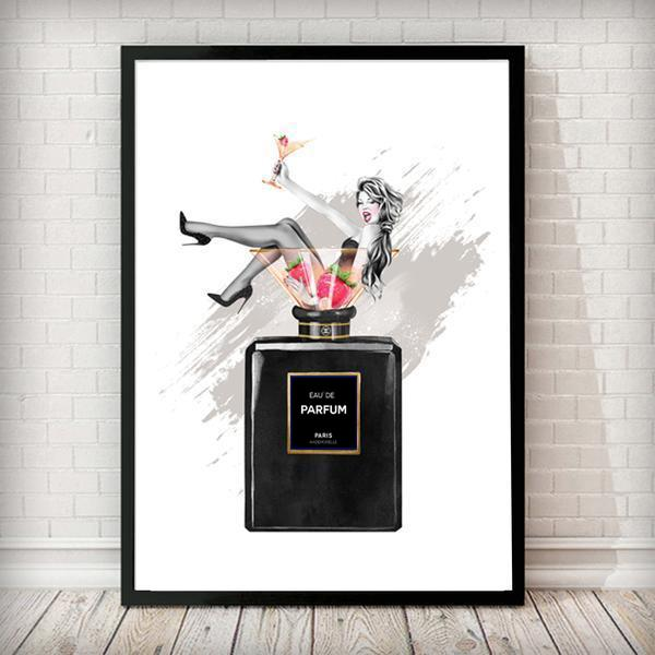 Perfume bottle Cocktail Girl - white Background Fashion Art Print - Rock Salt Prints Ltd
