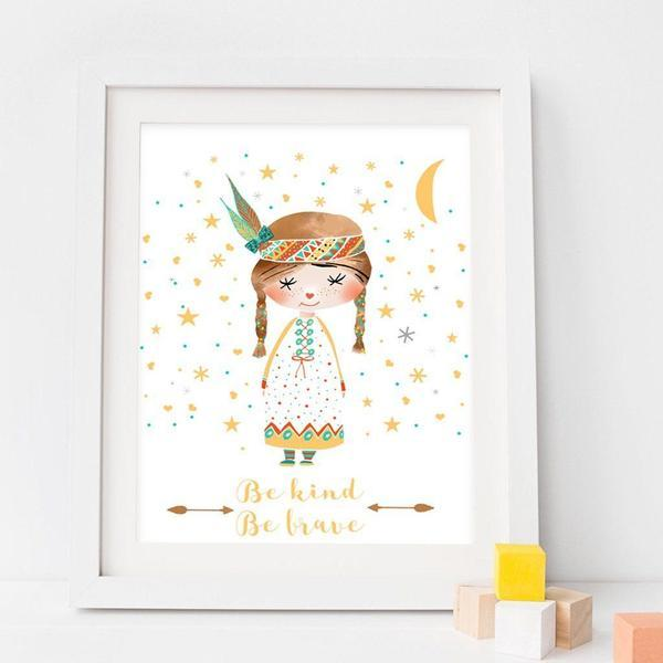 Be Kind Be Brave Girl Nursery Art Print - Rock Salt Prints Ltd