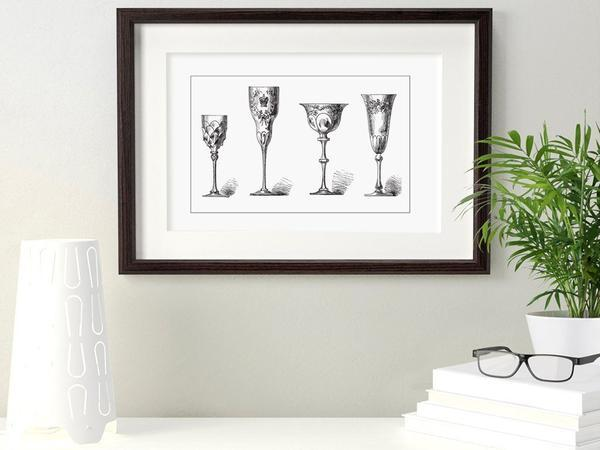 Antique Crystal Glasses White Art Print - Rock Salt Prints Ltd