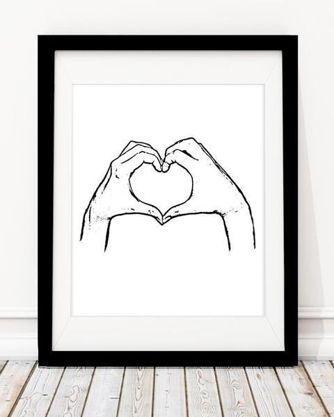 Heart Shape Hand - Monochrome Home Decor Art Print - Rock Salt Prints Ltd