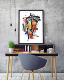 Hollywood Retro City Print - Rock Salt Prints Ltd