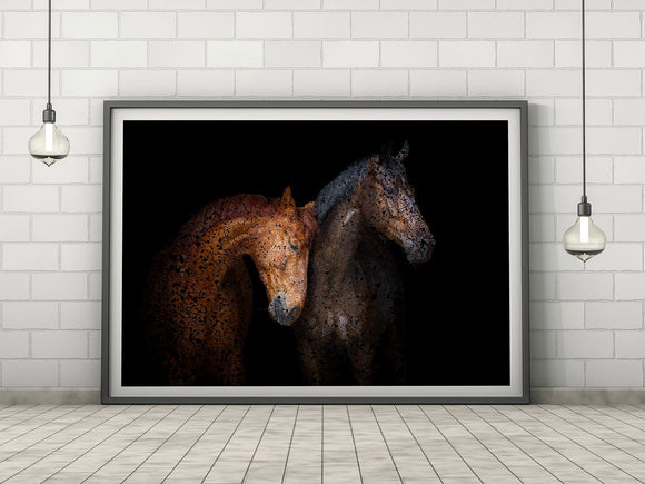 Horses Abstract Animal Nature Art Print - Rock Salt Prints