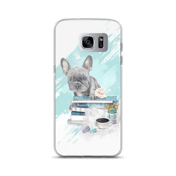 Blue French Bulldog Puppy and Fashion Books Samsung Phone Case - Rock Salt Prints Ltd