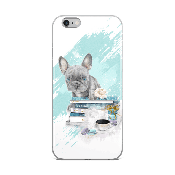 Blue French Bulldog Puppy and Fashion Books iPhone Case - Rock Salt Prints