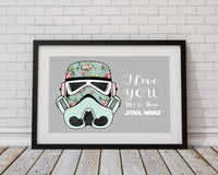 I Love You More Than Star Wars - Floral Star Wars Art Print - Rock Salt Prints Ltd