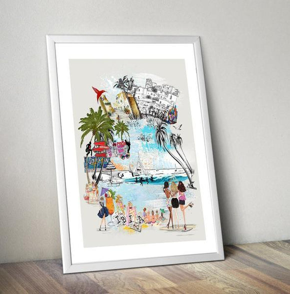 Ibiza Retro City Print - Rock Salt Prints Ltd