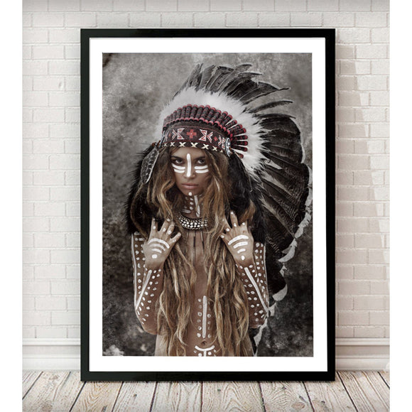 Native Indian Girl Headdress Fashion Photography Art Print - Rock Salt Prints Ltd