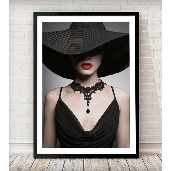 Vintage Style Lady in Hat Fashion Art Print - Landscape - Rock Salt Prints Ltd