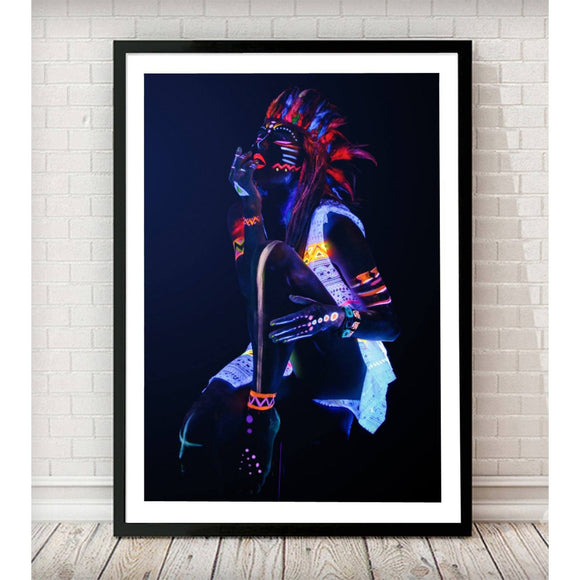 Red Indian with Neon makeup Fashion Art Print - Rock Salt Prints Ltd
