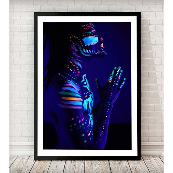 African Prayer Neon makeup Fashion Art Print - Rock Salt Prints Ltd