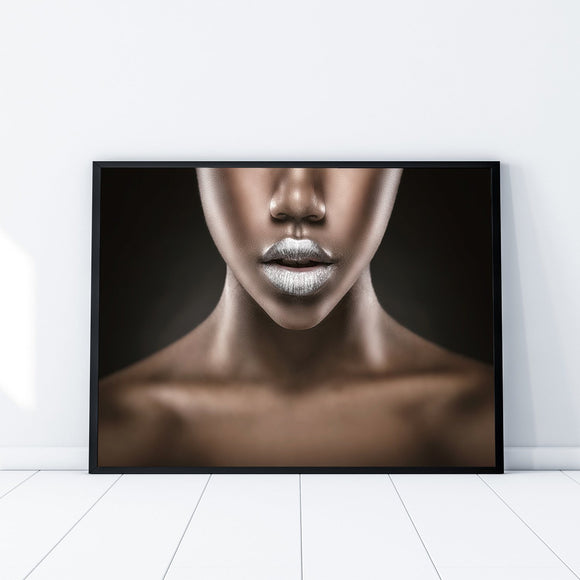 Silver Lips Woman Fashion Photography Art Print - Rock Salt Prints Ltd
