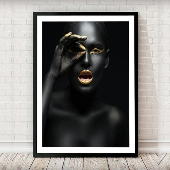 Black and Gold 002 Lady Fashion Art Print - Rock Salt Prints Ltd