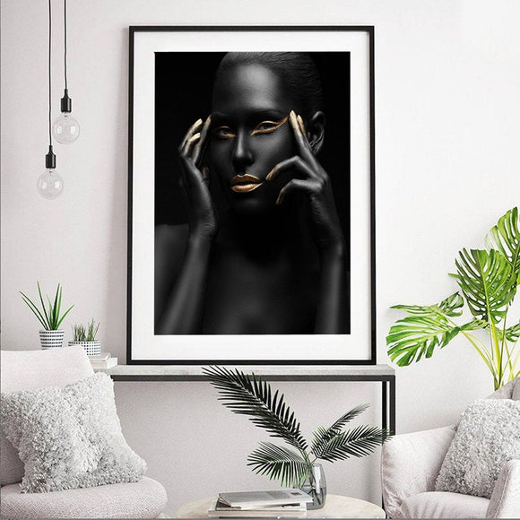 Black and Gold 004 Lady Fashion Art Print - Rock Salt Prints Ltd