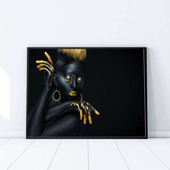 African Model Black and Gold Landscape Fashion Art Print