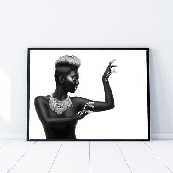 African Model Black and White 002 Landscape Fashion Art Print