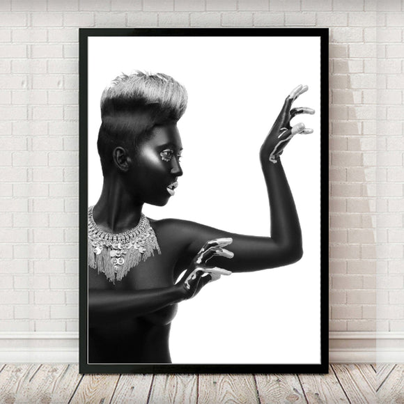 African Model Black and White 002 Portrait Fashion Art Print