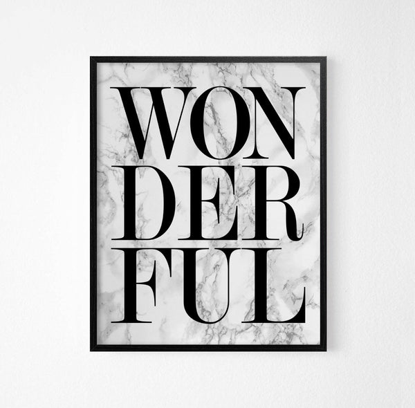 Wonderful Monochrome Typography Art Poster - Rock Salt Prints Ltd