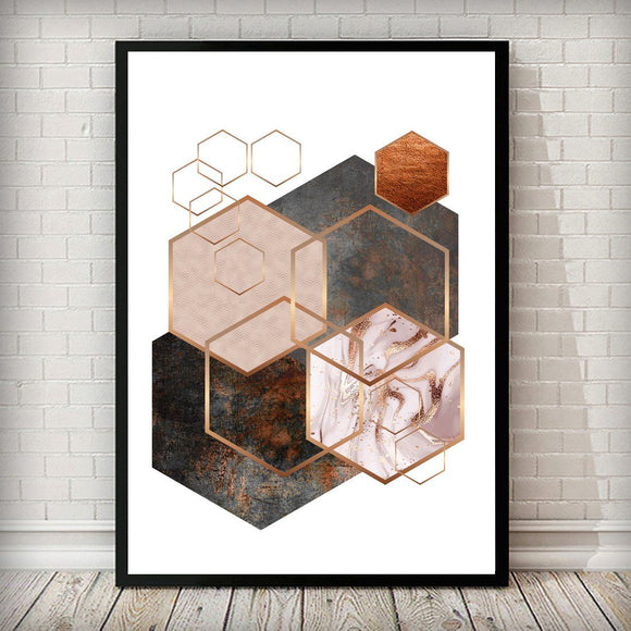 Hexagon 003 Rose Gold Copper Blush Pink Art Print - Rock Salt Prints