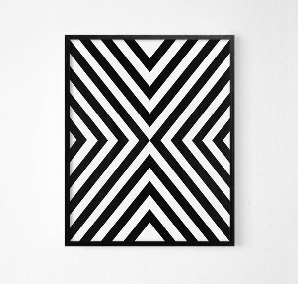Monochrome Lines Abstract Art Poster - Rock Salt Prints Ltd