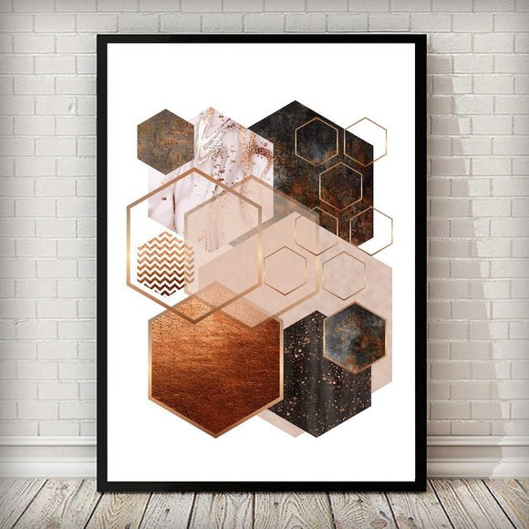 Hexagon 001 Rose Gold Copper Blush Pink Art Print - Rock Salt Prints