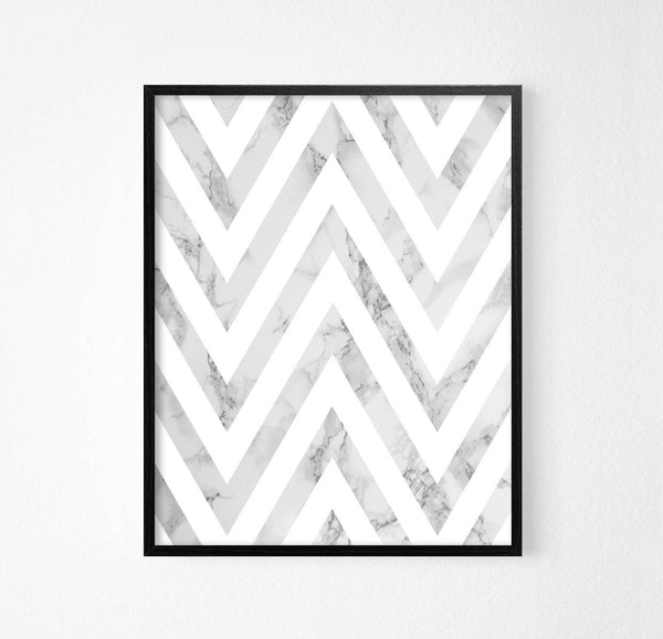 Zig Zag Grey Marble Abstract Art Poster - Rock Salt Prints Ltd