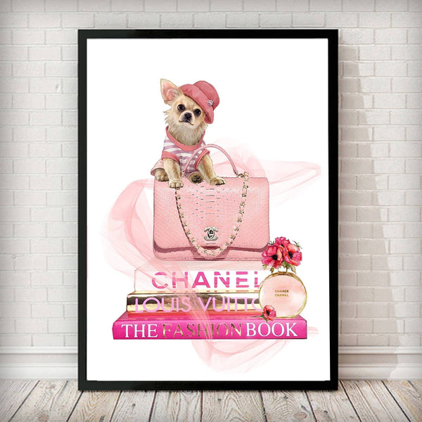 Fashion Books and Chihuahua Dog Fashion Art Print - Rock Salt Prints Ltd
