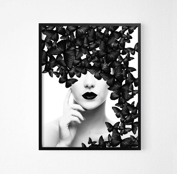Black Butterflies and Girl Monochrome Art Poster - Rock Salt Prints Ltd