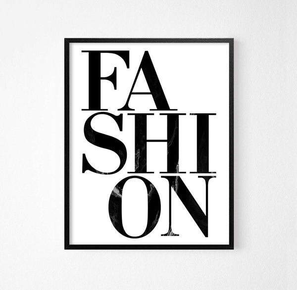 Fashion Monochrome Typography Art Poster - Rock Salt Prints Ltd