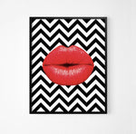 Red Lips Monochrome Art Poster - Rock Salt Prints Ltd