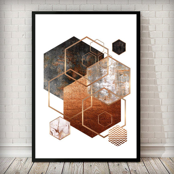 Hexagon 002 Rose Gold Copper Blush Pink Art Print - Rock Salt Prints