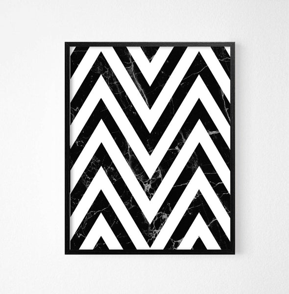 Zig Zag Monochrome Abstract Art Poster - Rock Salt Prints Ltd
